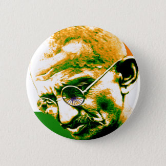 Ghandi in orange green and white with flag pinback button