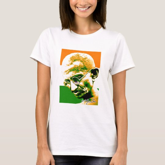 Ghandi in orange green and white with flag T-Shirt
