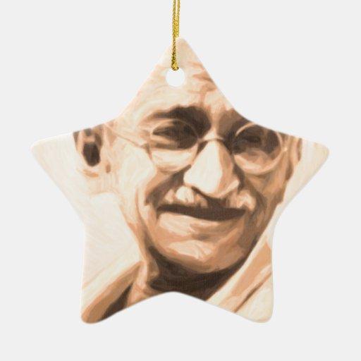 Ghandi Motivation Double-Sided Star Ceramic Christmas Ornament