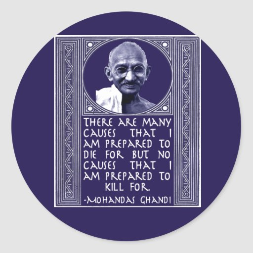 Ghandi on Causes Round Stickers