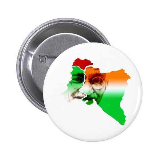 ghandi-on-india-and-pakistan-border 2 inch round button