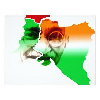 "ghandi-on-india-and-pakistan-border 4.25"" x 5.5"" invitation card"