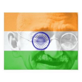 "Ghandi on Indian Flag 4.25"" X 5.5"" Invitation Card"