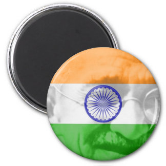 Ghandi on Indian Flag 2 Inch Round Magnet