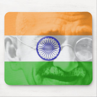 Ghandi on Indian Flag Mouse Pad