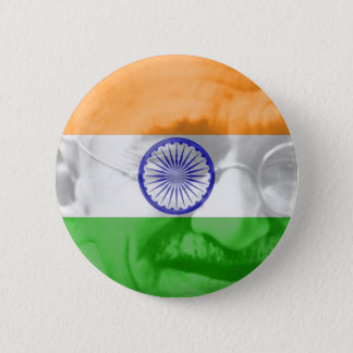 Ghandi on Indian Flag Pinback Button