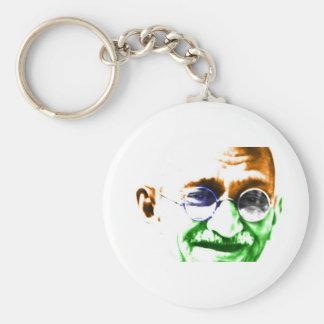 Ghandi on Subtle Indian Flag Basic Round Button Keychain