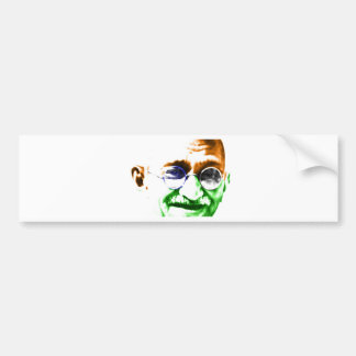 Ghandi on Subtle Indian Flag Bumper Sticker