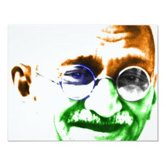 "Ghandi on Subtle Indian Flag 4.25"" X 5.5"" Invitation Card"