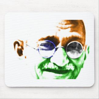 Ghandi on Subtle Indian Flag Mouse Pad