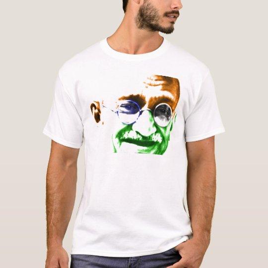 Ghandi on Subtle Indian Flag T-Shirt