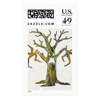 Ghastly Halloween tree - postage stamp