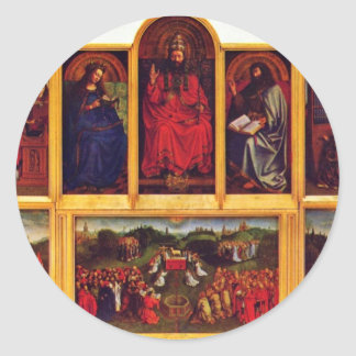 Ghent Altar Altar Of The Mystic Lamb Scene View Of Round Sticker