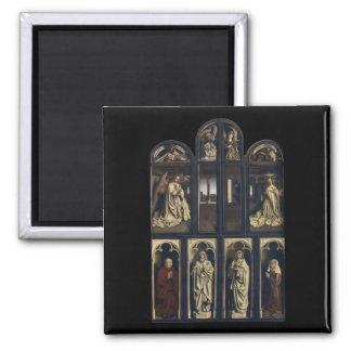 Ghent Altarpiece, Hubert & Jan van Eyck 2 Inch Square Magnet