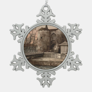 Ghent Gate, Bruges, Belgium Snowflake Pewter Christmas Ornament