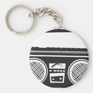 Ghetto Blaster Basic Round Button Keychain