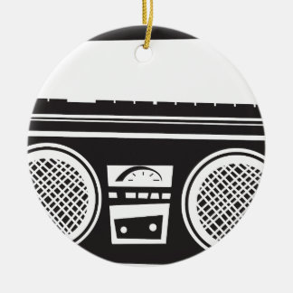 Ghetto Blaster Double-Sided Ceramic Round Christmas Ornament