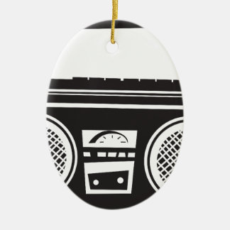 Ghetto Blaster Double-Sided Oval Ceramic Christmas Ornament