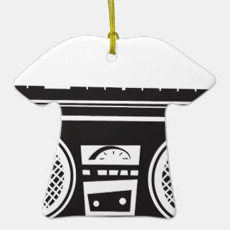 Ghetto Blaster Double-Sided T-Shirt Ceramic Christmas Ornament