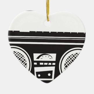 Ghetto Blaster Double-Sided Heart Ceramic Christmas Ornament