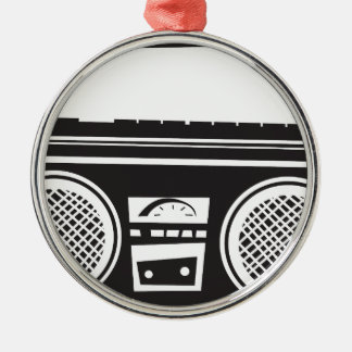 Ghetto Blaster Round Metal Christmas Ornament