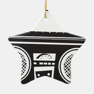 Ghetto Blaster Double-Sided Star Ceramic Christmas Ornament