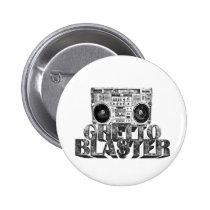 crazy, hip-hop, ghetto blaster, boombox, music, diagonal lines, old school, vintage, fun, classic, graffiti, Button with custom graphic design
