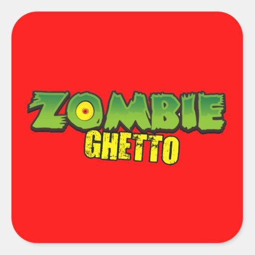 Ghetto del zombi - el logotipo del ghetto del pegatina cuadrada