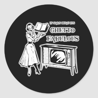 Ghetto TV fabulosa Pegatina Redonda