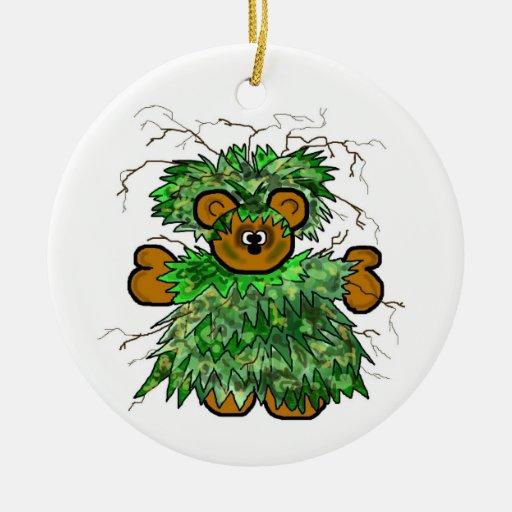 Ghillie Suit Teddy Bear Christmas Ornament