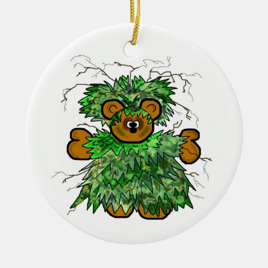 Ghillie Suit Teddy Bear Christmas Ornament