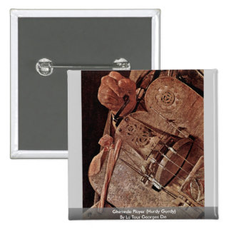 Ghironda Player (Hurdy Gurdy)  By La Tour Georges 2 Inch Square Button