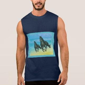 Ghora Chowpati - Wild Black Horse Pair Sleeveless Shirt