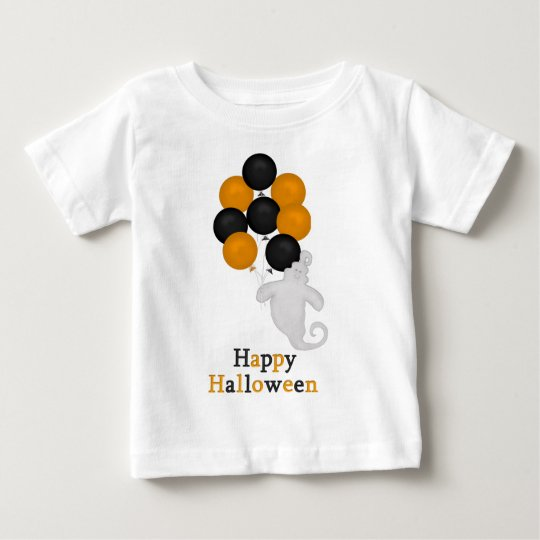 Ghost and Balloons Happy Halloween Baby Tshirt