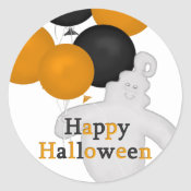 Ghost and Balloons Happy Halloween Stickers