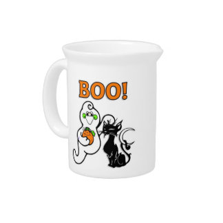 Ghost and Black Cat Beverage Pitcher