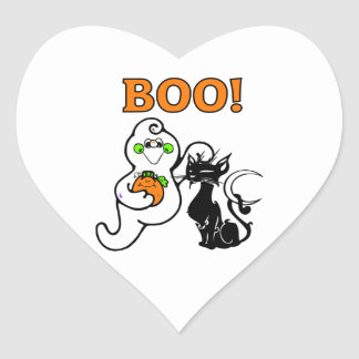 Ghost and Black Cat Heart Sticker