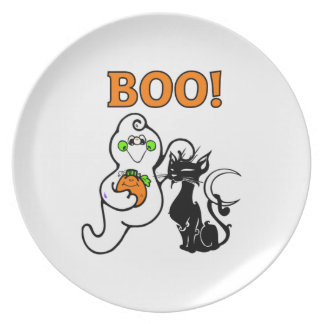 Ghost and Black Cat Melamine Plate