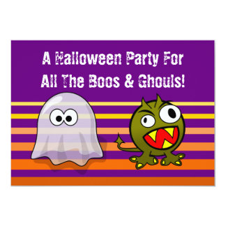 Ghost and Monster Boos And Ghouls Halloween Party 5x7 Paper Invitation Card