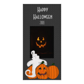 Ghost and Pumpkin Happy Halloween Photo Card