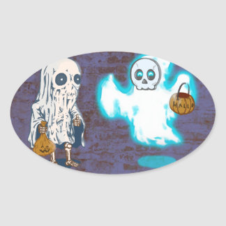 Ghost and Skeleton Costume Oval Sticker