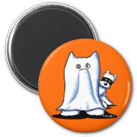 Ghost Bandit Halloween Westies 2 Inch Round Magnet