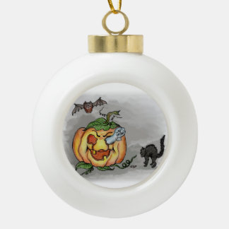 Ghost, Bat and Cat, Happy Halloween! Ceramic Ball Christmas Ornament