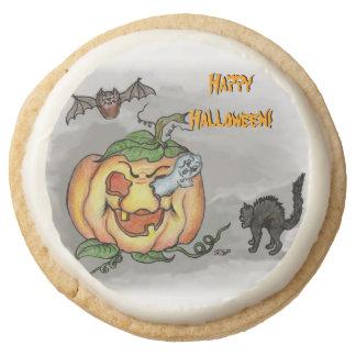 Ghost, Bat and Cat, Happy Halloween! Round Shortbread Cookie