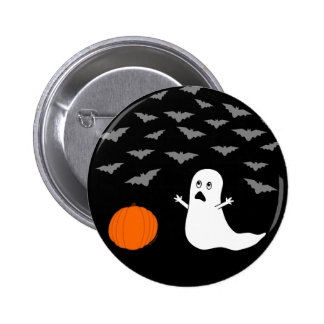 Ghost & Bats Halloween (Dark Version) Button