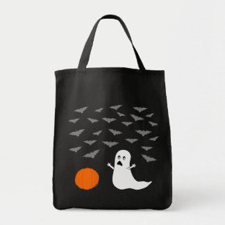 Ghost & Bats Halloween (Dark Version) Grocery Tote Bag