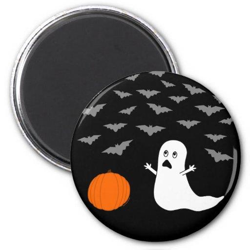 Ghost & Bats Halloween (Dark Version) Fridge Magnet