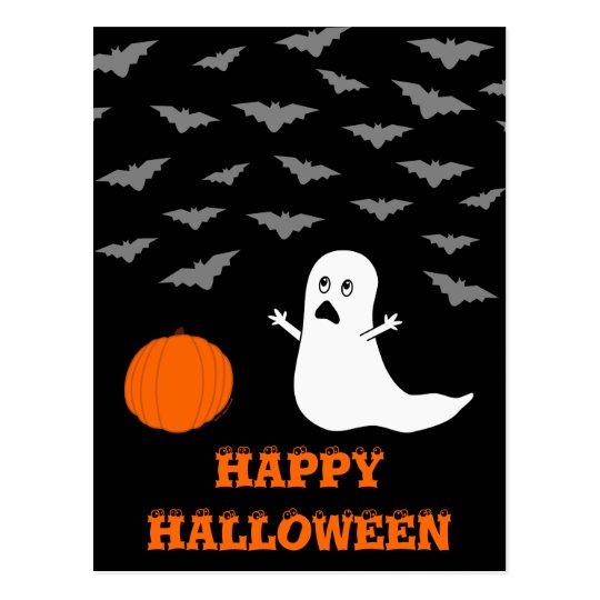 Ghost & Bats Halloween (Dark Version) Postcard
