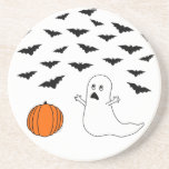 Ghost & Bats Halloween Drink Coasters