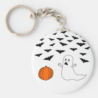Ghost & Bats Halloween Basic Round Button Keychain